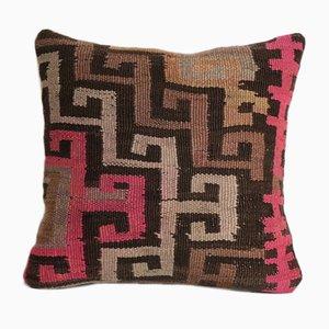 Quadratischer türkischer Vintage Kars Kelim Kissenbezug aus Wolle von Vintage Pillow Store Contemporary
