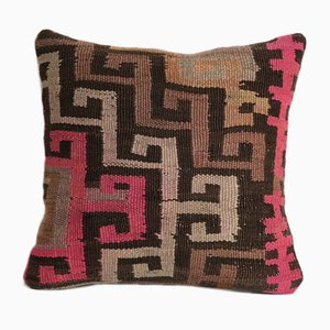 Vintage Turkish Ethnic Decorative Square Wool Kars Kilim Pillow Cover from Vintage Pillow Store Contemporary