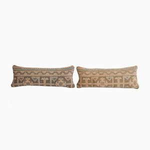 Turkish Ethnic Faded Yastik Rug Pillow Cover from Vintage Pillow Store Contemporary, Set of 2