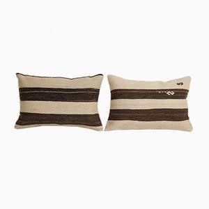 Vintage Turkish White Hemp Kilim Cushion Covers, Set of 2