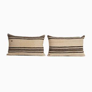Vintage Turkish Striped Neutral Kilim Rug Cushion Covers, Set of 2