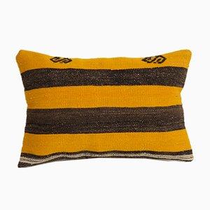 Coussin Lombaire Kilim Vintage Boho Chic Tissé à la Main Jaune de Vintage Pillow Store Contemporary
