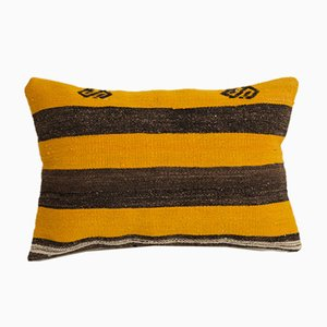 Turkish Boho Chic Handwoven Yellow Tribal Lumbar Kilim Sofa Throw Pillow from Vintage Pillow Store Contemporary