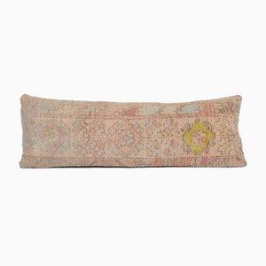 Vintage Turkish Traditional Handmade Faded Wool Lumbar Rug Cushion Cover