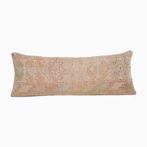 Vintage türkische handgefertigte gestreifte Bank Kissenbezug aus organischer Wolle