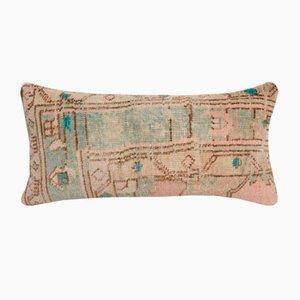 Vintage Anatolian Handmade Ethnic Faded Wool Lumbar Rug Cushion Cover