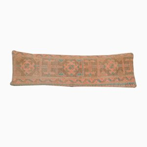Vintage Turkish Rectangular Distressed Oushak Rug Cushion Cover