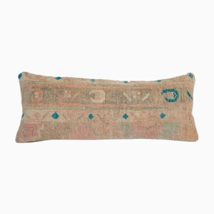 Long Bohemian Woven Wool Lumbar Rug Cushion Cover with Mid-Century Design