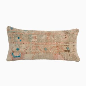 Bohemian Woven Wool Lumbar Rug Cushion Cover with Mid-Century Design
