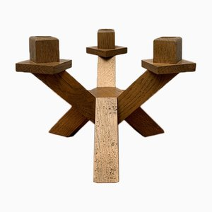 Mid-Century Brutalist Wooden Candleholder