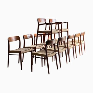 Model 56 & Model 75 Teak & Papercord Dining Chairs by Niels Moller for J.L. Møllers, 1960s, Set of 12