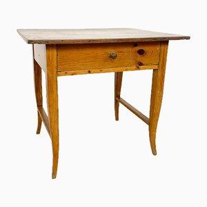 Antiker Beistelltisch aus Ulmenholz mit Schublade