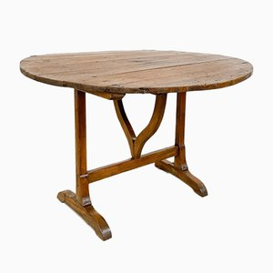 Antique French Vigneron Wine Table in Elm Wood