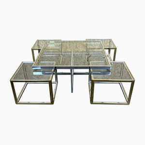 Chrome & Brass Coffee Table & 4 Nesting Tables from Maison Charles, 1960s