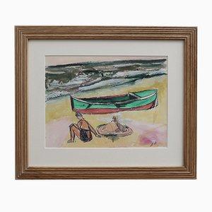Kleines Boot und Badende in Dinard von Jean Pons, 1961