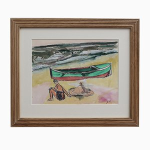 Small Boat and Bather in Dinard by Jean Pons, 1961