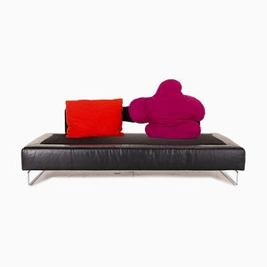 Black Leather 4-Seater Sofa from Brühl & Sippold