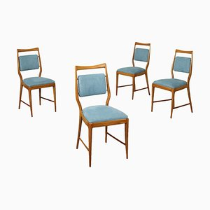 Stained Beech & Fabric Dining Chairs, 1950s, Set of 4