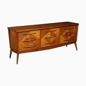 Mahogany Veneer & Brass Chest of Drawers, 1950s
