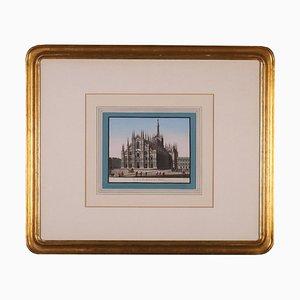 Veduta del Duomo di Milano, tela L: 23,00 cm, H: 19,00 cm.,