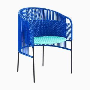 Blauer Caribe Esszimmerstuhl von Sebastian Herkner