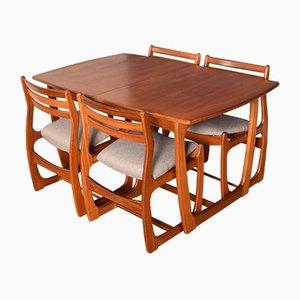 Ausziehbarer Teak Esstisch & 4 Stühle, 1960er