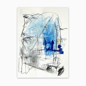 Blaue Bäume, abstraktes Gemälde, 2021