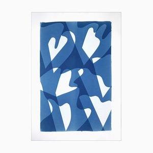 Wind über Wasser, blaue und weiße Monotype, abstrakte moderne Formen und Schichten, 2021