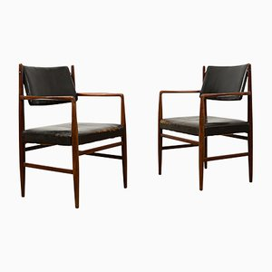 Mid-Century Leather Chairs by Arne Vodder, Set of 2