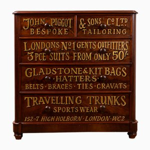 Victorian Mahogany Chest with Sign Writing