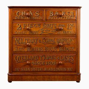 Viktorianische Nussholz Gentleman's Outfitters Schubladen