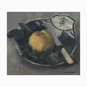 André-Laurent Kunkler, Stillleben mit Obst, Steingut & Messer, 1943