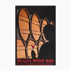 Póster de bar de vinos Willi de Alberto Bali, 1999