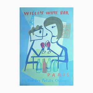 Póster de Willi's Wine Bar de Xavier Mariscal, 1998
