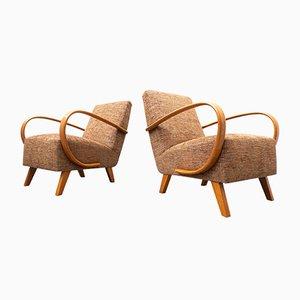 Modell 410 Armlehnstühle aus Holz & Stoff von Jindrich Halabala, Tschechische, 1940er, 2er Set