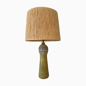 Mid-Century Modern Yellow Ceramic and Raffia Table Lamp from Bitossi, Italy, 1960s
