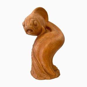 Sculpture de Poisson en Terracotta par Raymond De Meester, Belgique, 1940s
