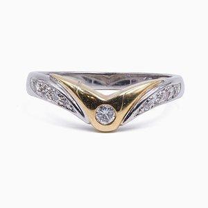 Vintage 2-Ton Vintage 14 Karat Goldring mit Diamanten, 1970er