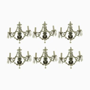 Antique French Glass Sconces, Set of 6