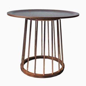 Vintage Round Teak & Copper Coffee Table