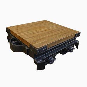 Industrial Coffee Table in Oak and Metal, 1920s