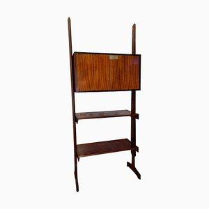 Librería independiente de palisandro con dos estantes ajustables y armario de dos puertas, años 60