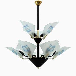 Moderner italienischer Kronleuchter aus Muranoglas in Form von Segeln, 1989
