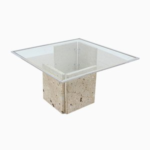 Italian Marble and Glass Coffee Table, 1970s