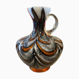 Mid-Century Modern Red and Gray Opaline Glass Jug by Carlo Moretti, 1970s