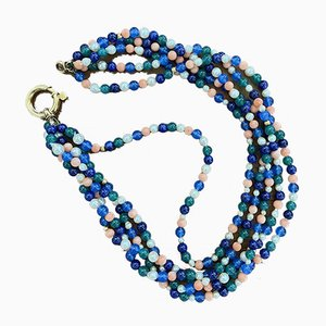 Halskette aus Koralle, Perle & Achat-Gold