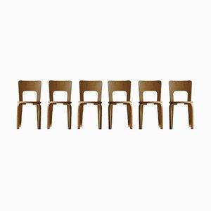 Modell 66 Esszimmerstühle von Alvar Aalto für Artek, 1950er, 6er Set
