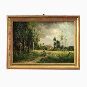 French Countryside Landscape with Characters, 19th Century