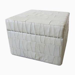 Poggiapiedi in pelle patchwork grigia con scomparto storage, anni '70