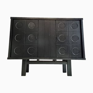 Brutalist Black Oak Cabinet